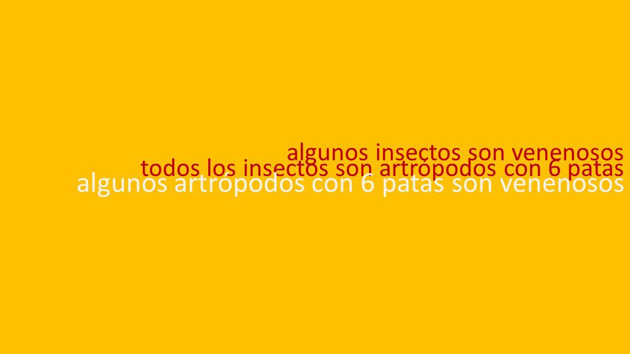 algunos insectos son venenosos todos los insectos son artrópodos con 6 patas algunos artrópodos con 6 patas son venenosos