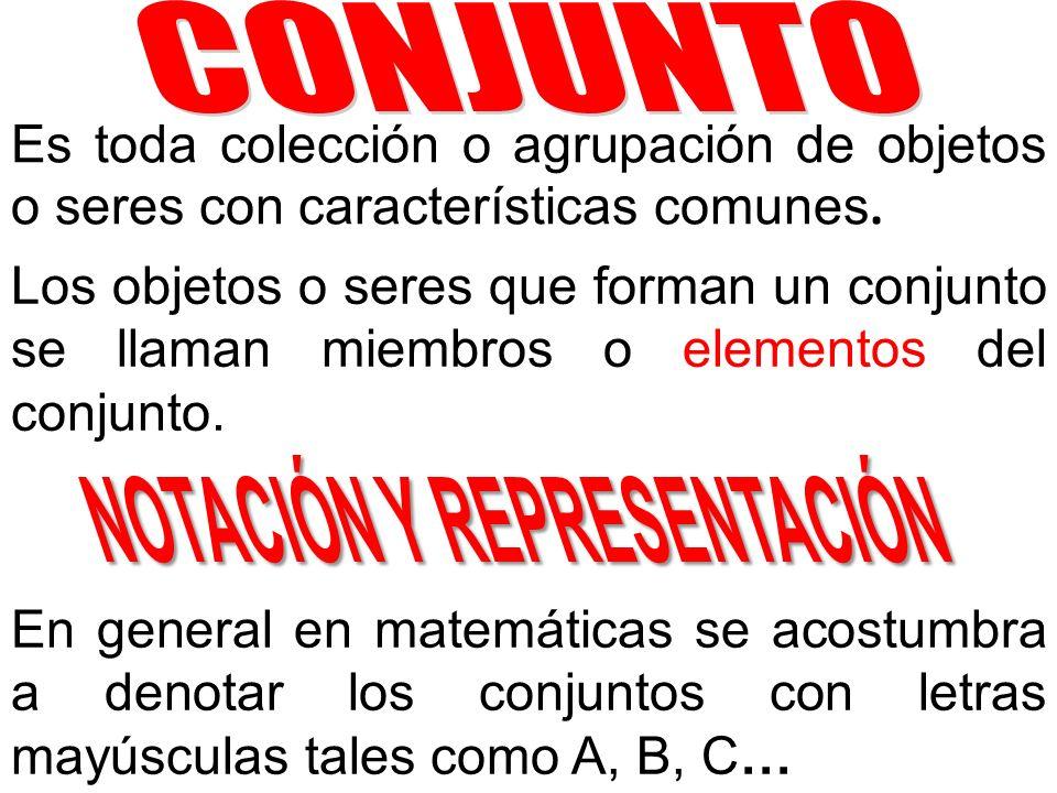 Es toda colección o agrupación de objetos o seres con características comunes. Los objetos o seres que forman un conjunto se llaman miembros o element