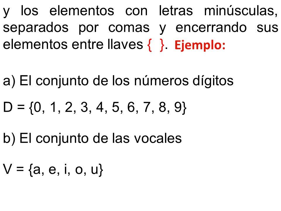 y los elementos con letras minúsculas, separados por comas y encerrando sus elementos entre llaves { }. Ejemplo: a) El conjunto de los números dígitos