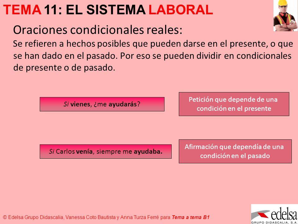 TEMA 11: EL SISTEMA LABORAL © Edelsa Grupo Didascalia, Vanessa Coto Bautista y Anna Turza Ferré para Tema a tema B1 Oraciones condicionales reales: Se