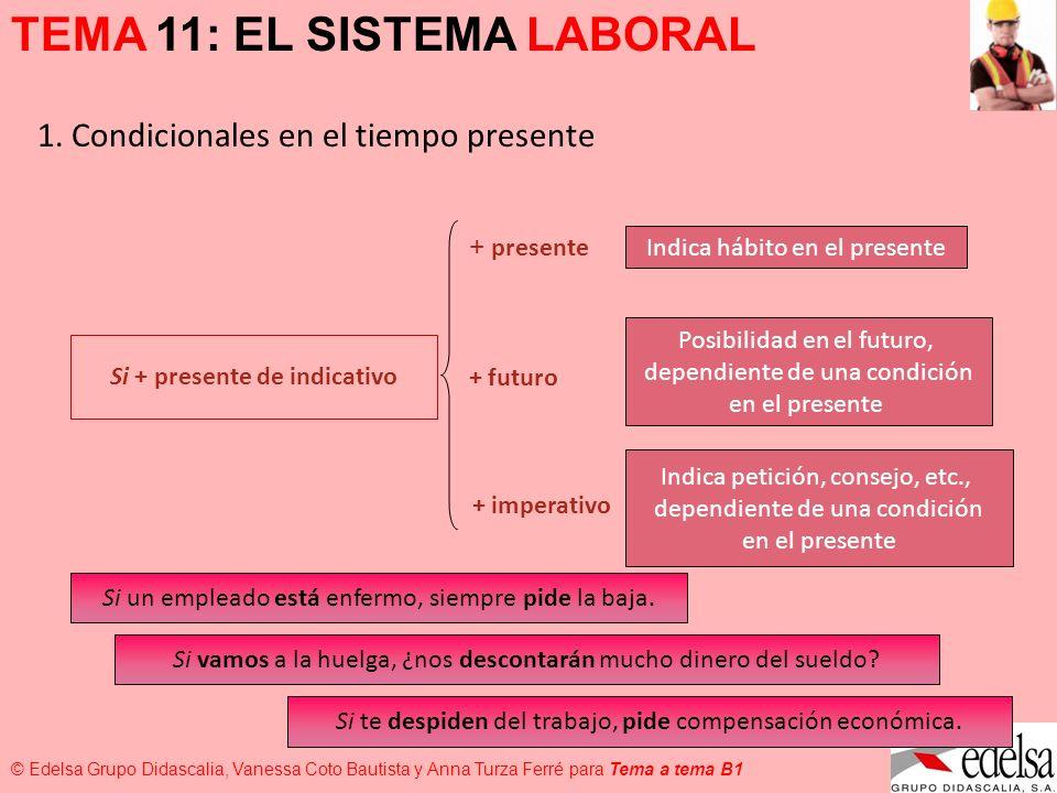 TEMA 11: EL SISTEMA LABORAL © Edelsa Grupo Didascalia, Vanessa Coto Bautista y Anna Turza Ferré para Tema a tema B1 1. Condicionales en el tiempo pres