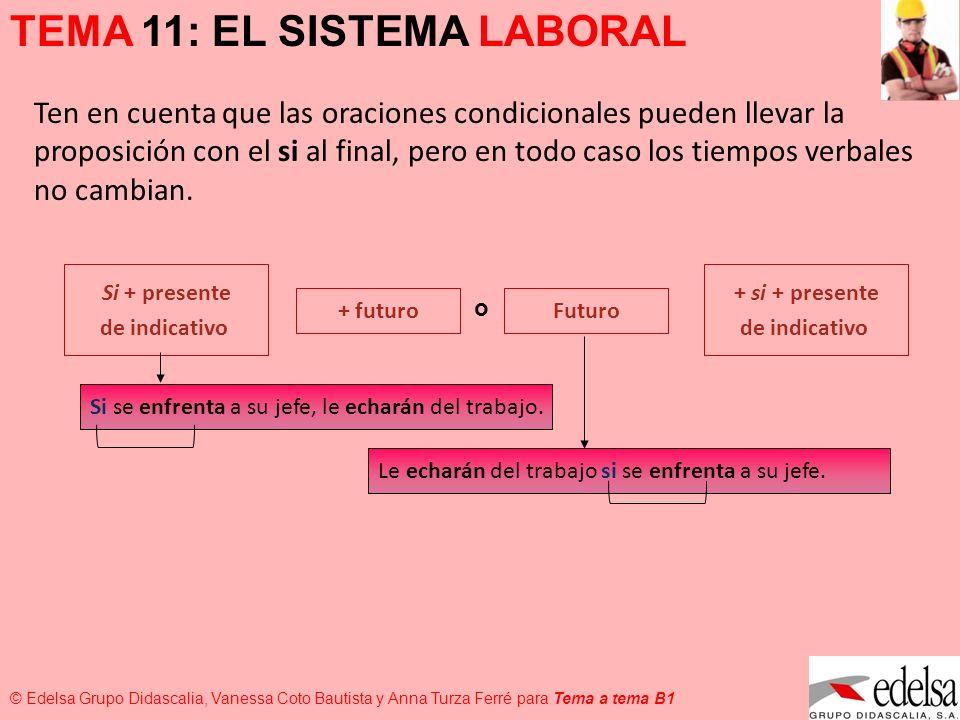 TEMA 11: EL SISTEMA LABORAL © Edelsa Grupo Didascalia, Vanessa Coto Bautista y Anna Turza Ferré para Tema a tema B1 ¡Como no hagas ese curso, te envío a una oficina que te quede lejos.