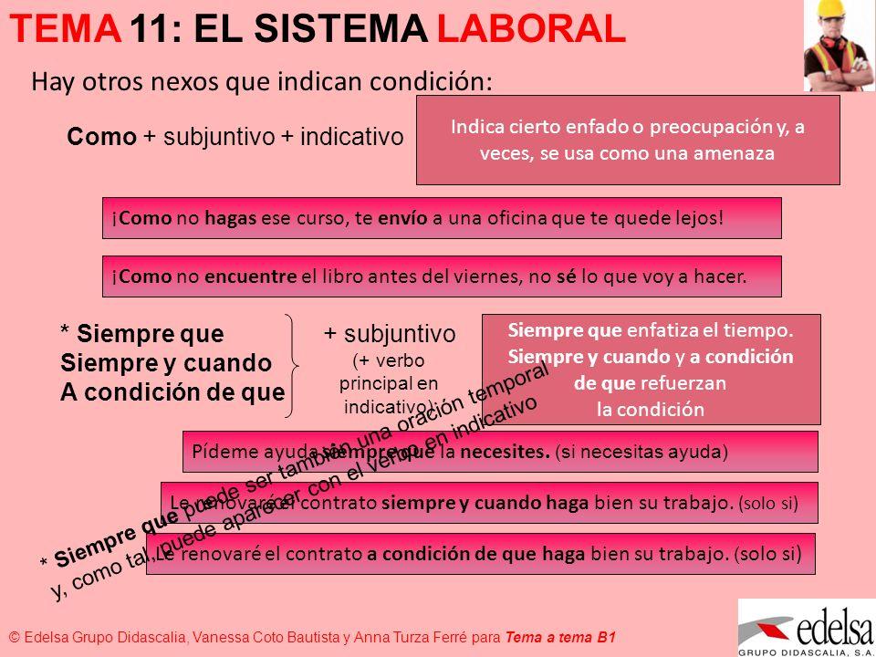 TEMA 11: EL SISTEMA LABORAL © Edelsa Grupo Didascalia, Vanessa Coto Bautista y Anna Turza Ferré para Tema a tema B1 ¡Como no hagas ese curso, te envío
