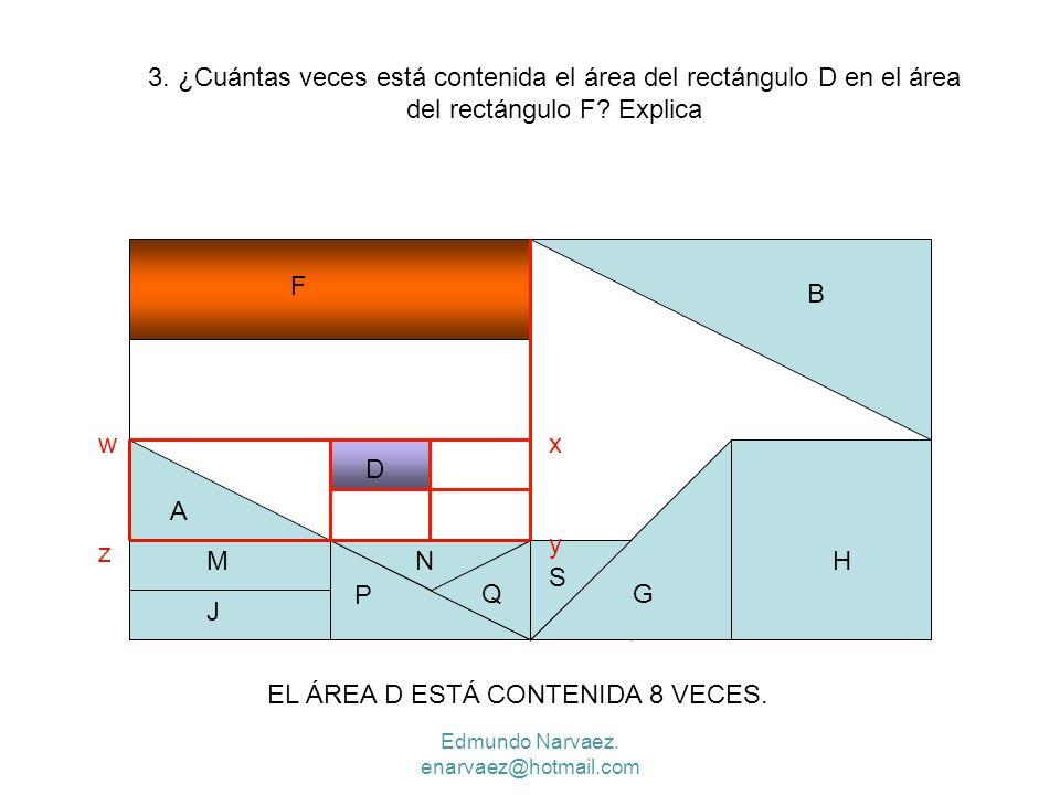 P H P Q B A N G S F D M J 3. ¿Cuántas veces está contenida el área del rectángulo D en el área del rectángulo F? Explica wx y z EL ÁREA D ESTÁ CONTENI