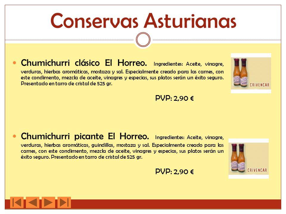 Conservas Asturianas Chumichurri clásico El Horreo. Ingredientes: Aceite, vinagre, verduras, hierbas aromáticas, mostaza y sal. Especialmente creado p