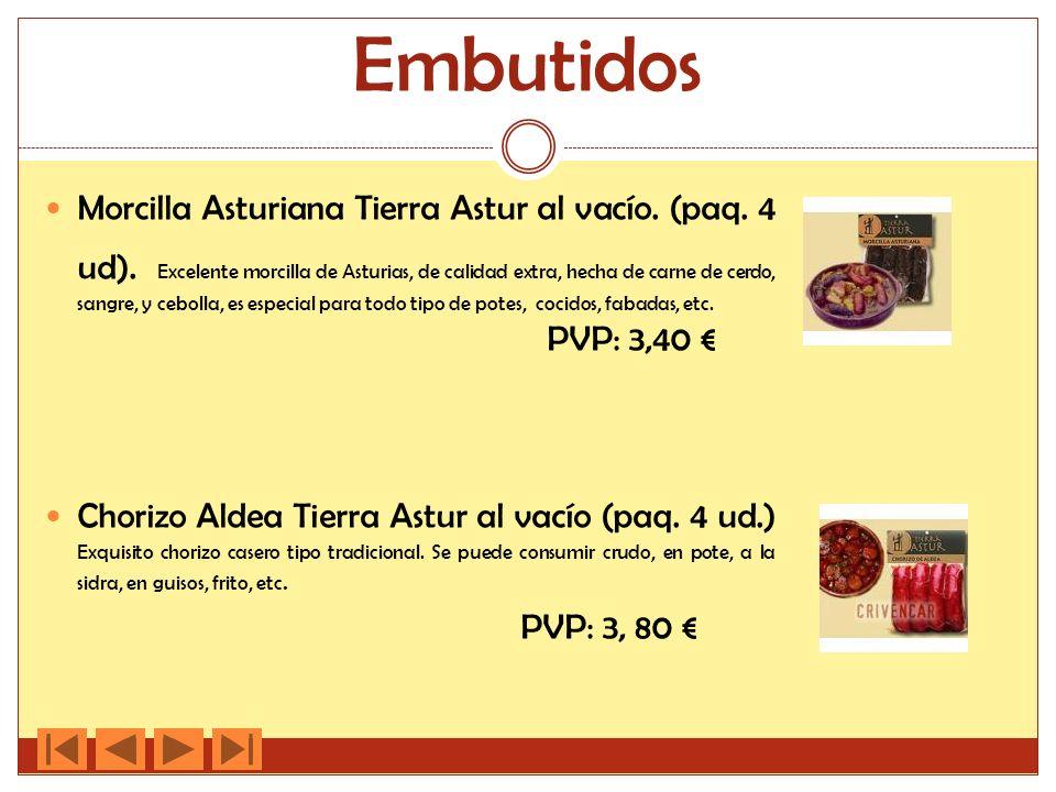 Embutidos Morcilla Asturiana Tierra Astur al vacío. (paq. 4 ud). Excelente morcilla de Asturias, de calidad extra, hecha de carne de cerdo, sangre, y