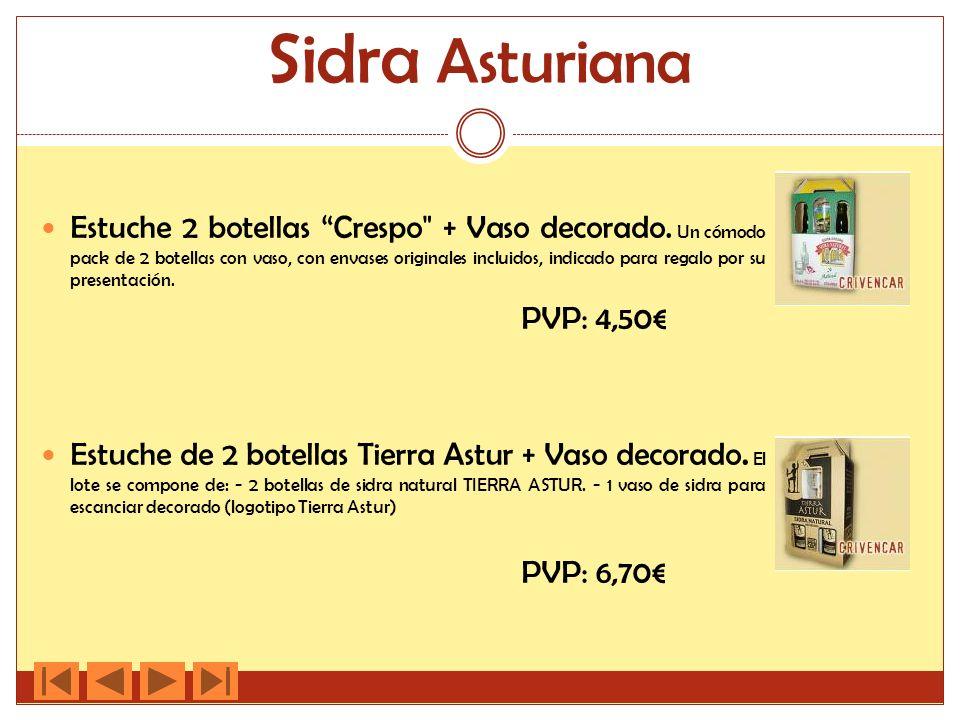 Sidra Asturiana Estuche 2 botellas Crespo + Vaso decorado.