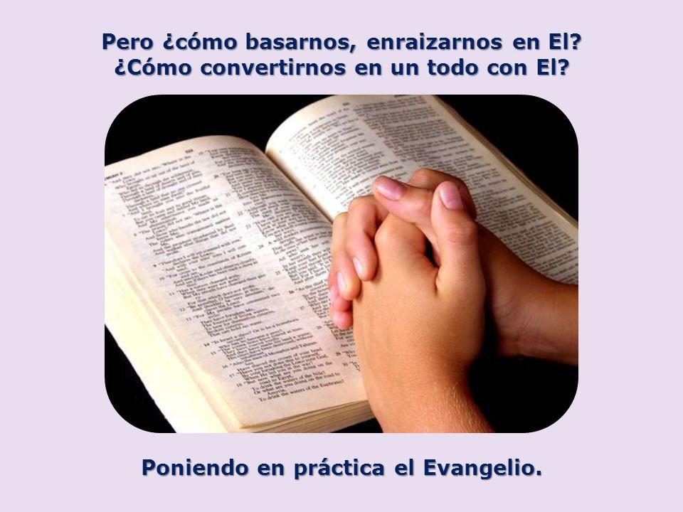 Pero ¿cómo basarnos, enraizarnos en El? ¿Cómo convertirnos en un todo con El? Poniendo en práctica el Evangelio.