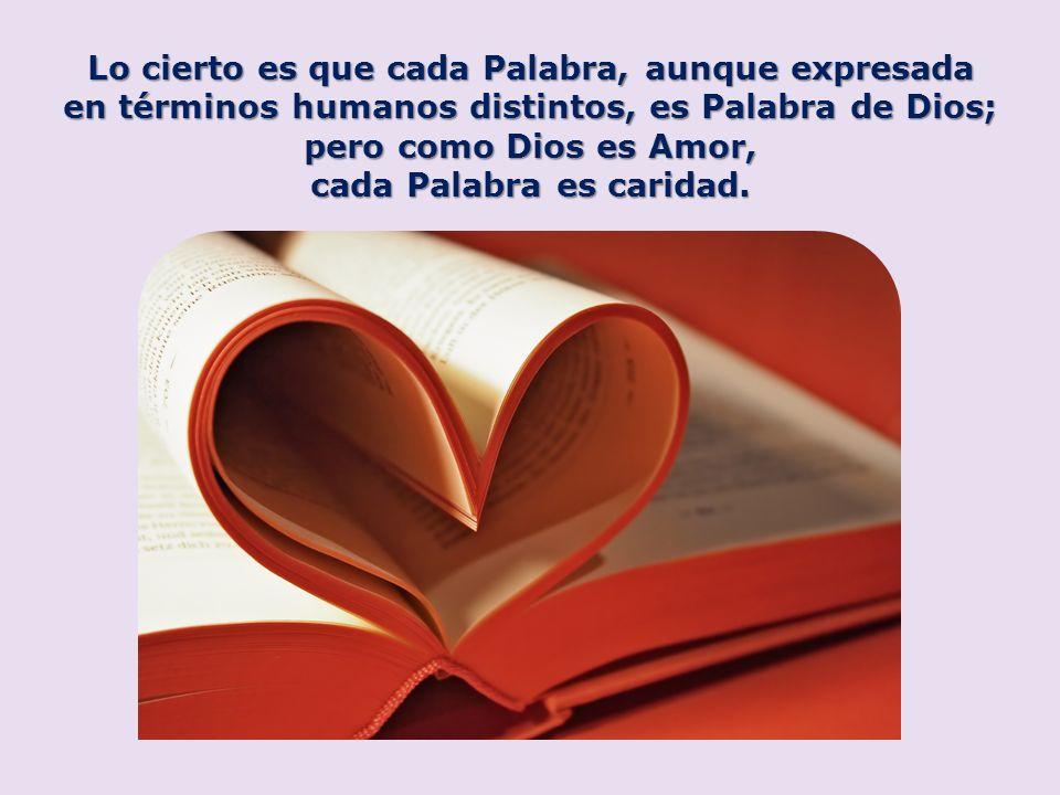 Lo cierto es que cada Palabra, aunque expresada en términos humanos distintos, es Palabra de Dios; pero como Dios es Amor, cada Palabra es caridad.