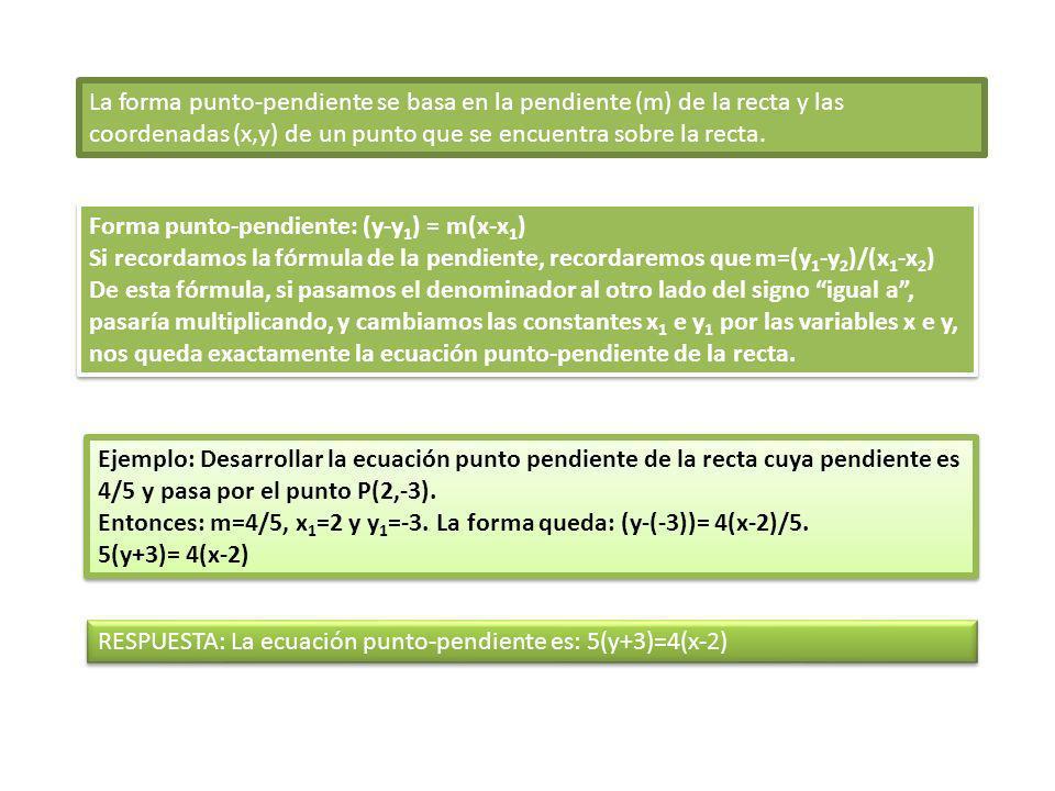 La forma punto-pendiente se basa en la pendiente (m) de la recta y las coordenadas (x,y) de un punto que se encuentra sobre la recta. Forma punto-pend