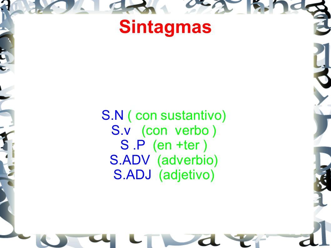 Sintagmas S.N ( con sustantivo) S.v (con verbo ) S.P (en +ter ) S.ADV (adverbio) S.ADJ (adjetivo)
