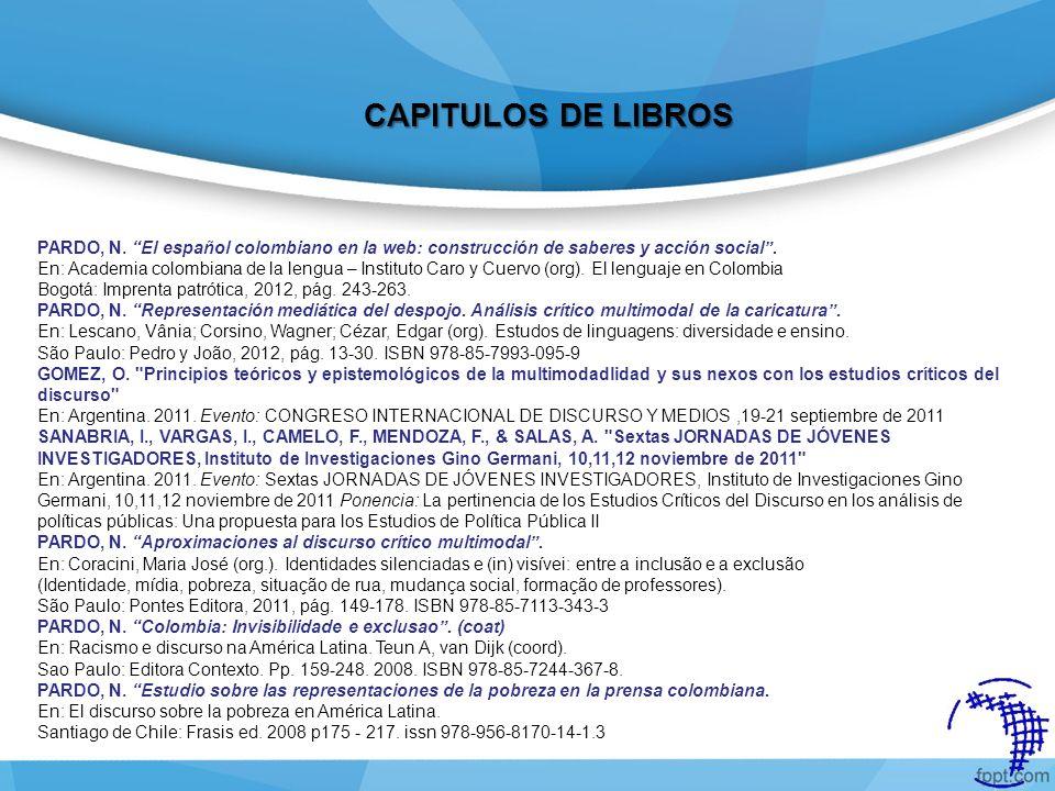 PARDO, N. El español colombiano en la web: construcción de saberes y acción social. En: Academia colombiana de la lengua – Instituto Caro y Cuervo (or