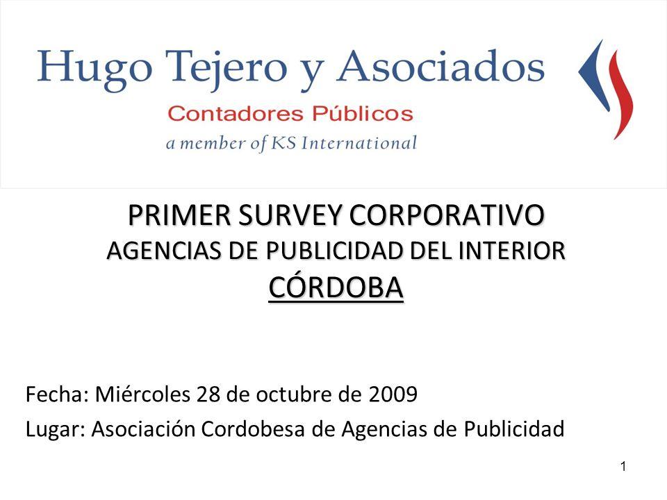 1 PRIMER SURVEY CORPORATIVO AGENCIAS DE PUBLICIDAD DEL INTERIOR CÓRDOBA Fecha: Miércoles 28 de octubre de 2009 Lugar: Asociación Cordobesa de Agencias de Publicidad