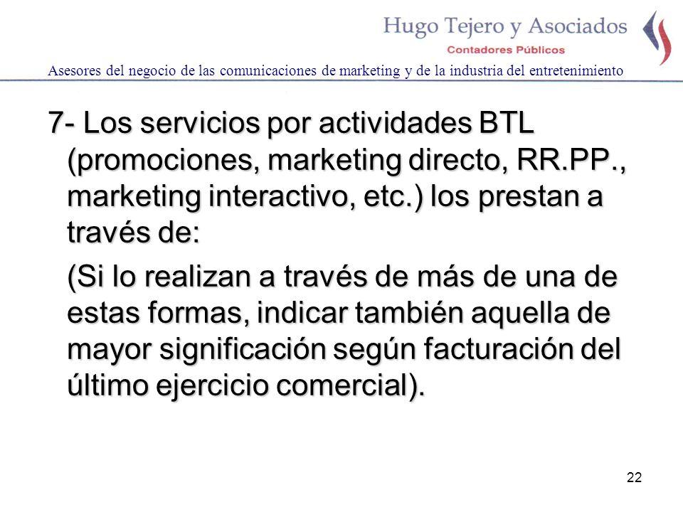 22 Asesores del negocio de las comunicaciones de marketing y de la industria del entretenimiento 7- Los servicios por actividades BTL (promociones, ma
