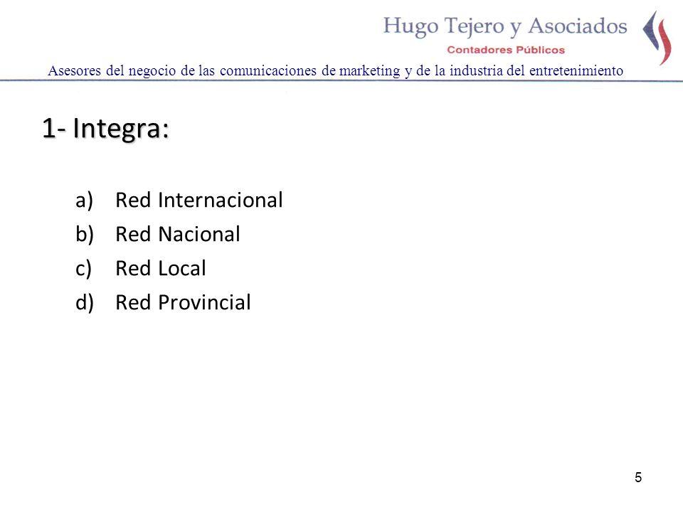 5 1- Integra: a)Red Internacional b)Red Nacional c)Red Local d)Red Provincial