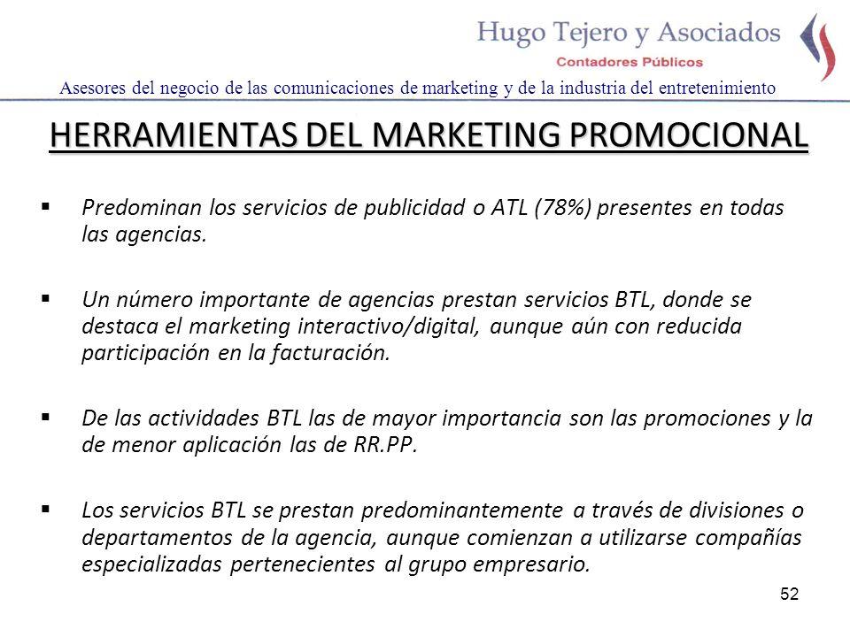 52 Asesores del negocio de las comunicaciones de marketing y de la industria del entretenimiento HERRAMIENTAS DEL MARKETING PROMOCIONAL Predominan los servicios de publicidad o ATL (78%) presentes en todas las agencias.