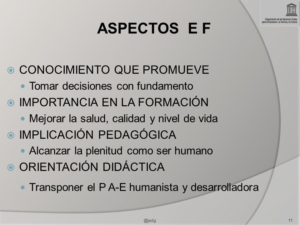 ASPECTOS E F CONOCIMIENTO QUE PROMUEVE Tomar decisiones con fundamento IMPORTANCIA EN LA FORMACIÓN Mejorar la salud, calidad y nivel de vida IMPLICACIÓN PEDAGÓGICA Alcanzar la plenitud como ser humano ORIENTACIÓN DIDÁCTICA Transponer el P A-E humanista y desarrolladora @jsdg11