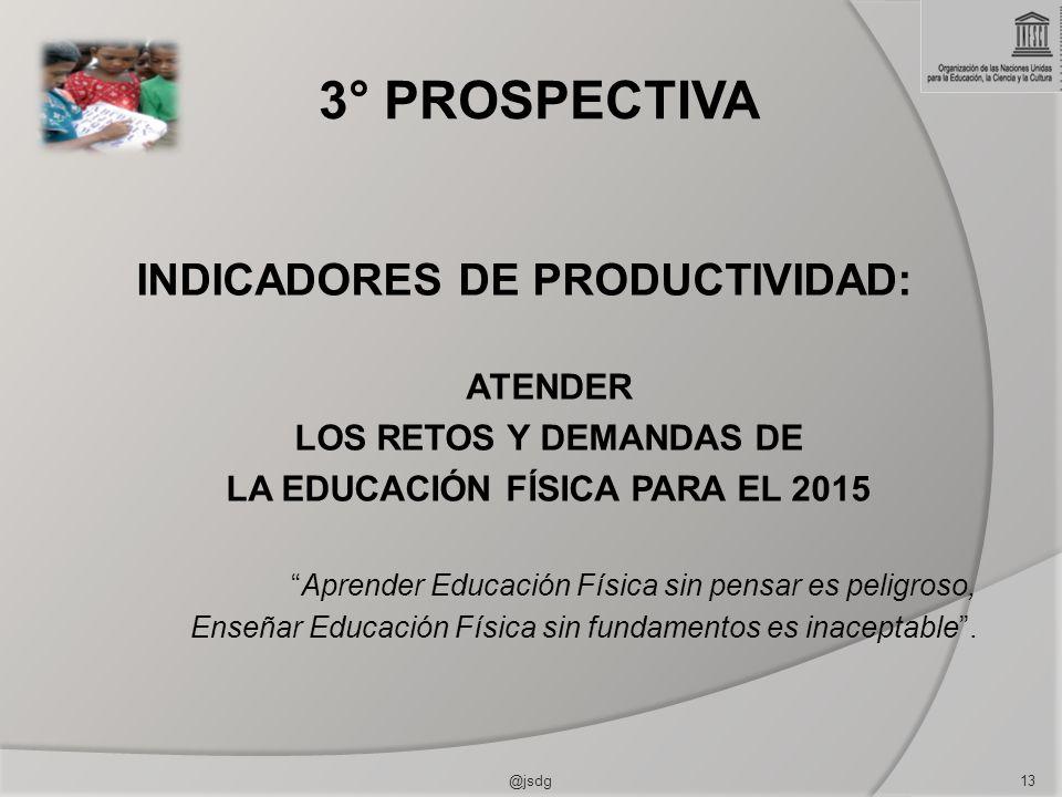 3° PROSPECTIVA INDICADORES DE PRODUCTIVIDAD: ATENDER LOS RETOS Y DEMANDAS DE LA EDUCACIÓN FÍSICA PARA EL 2015 Aprender Educación Física sin pensar es