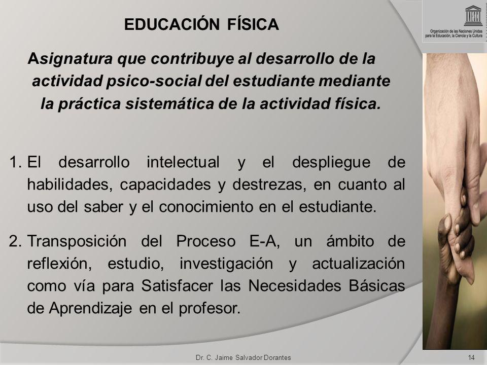Dr. C. Jaime Salvador Dorantes14 1.El desarrollo intelectual y el despliegue de habilidades, capacidades y destrezas, en cuanto al uso del saber y el