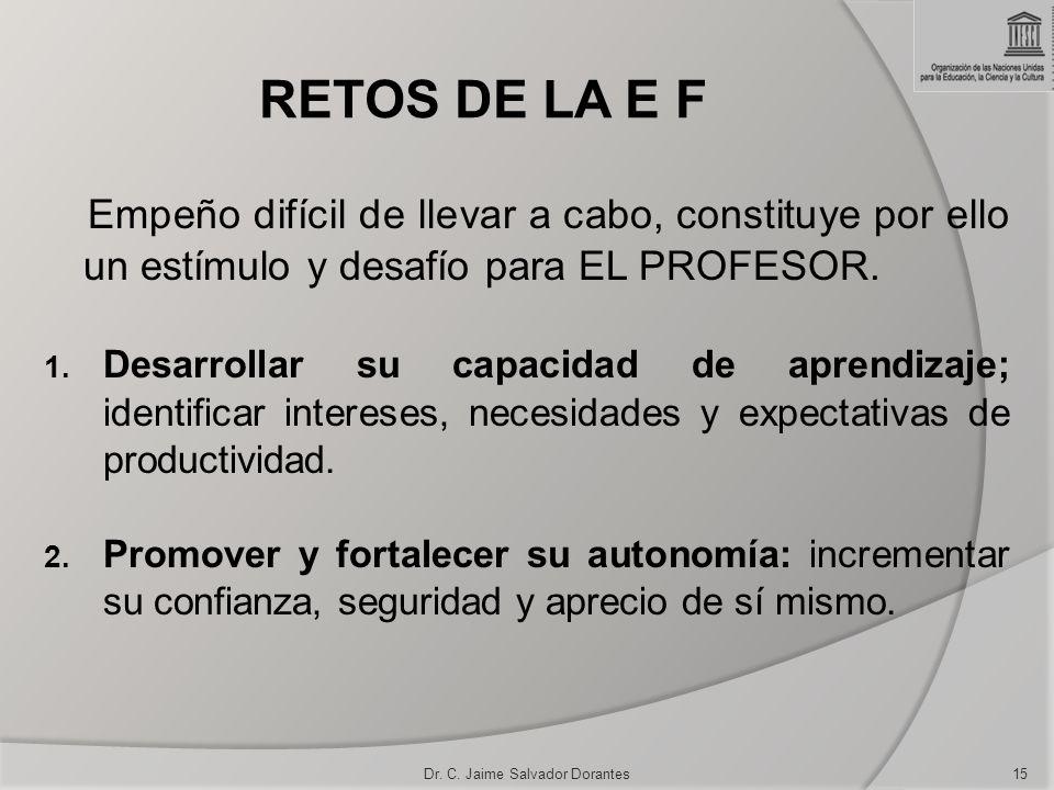 RETOS DE LA E F Empeño difícil de llevar a cabo, constituye por ello un estímulo y desafío para EL PROFESOR. 1. Desarrollar su capacidad de aprendizaj