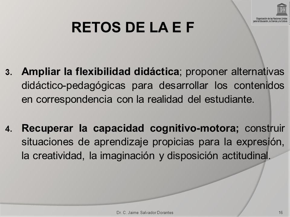 RETOS DE LA E F 3. Ampliar la flexibilidad didáctica; proponer alternativas didáctico-pedagógicas para desarrollar los contenidos en correspondencia c