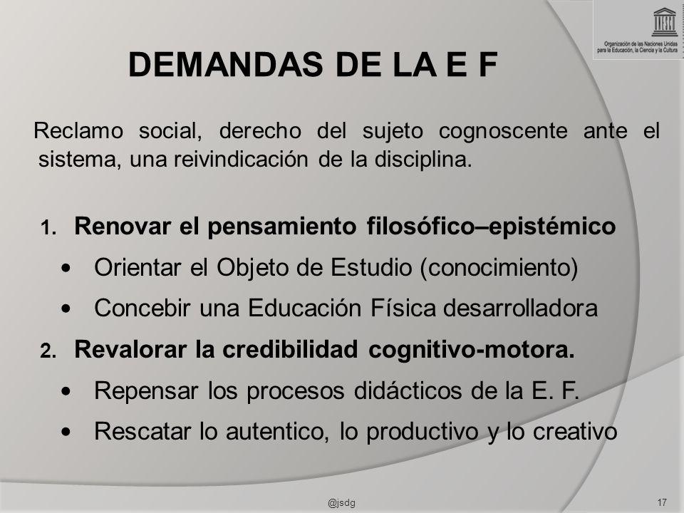 DEMANDAS DE LA E F Reclamo social, derecho del sujeto cognoscente ante el sistema, una reivindicación de la disciplina. 1. Renovar el pensamiento filo