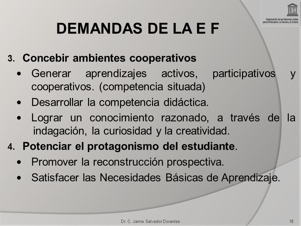 DEMANDAS DE LA E F 3. Concebir ambientes cooperativos Generar aprendizajes activos, participativos y cooperativos. (competencia situada) Desarrollar l