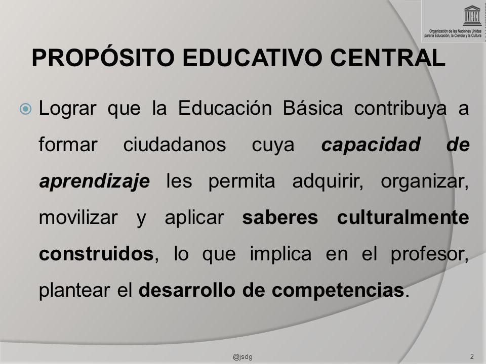 PROPÓSITO EDUCATIVO CENTRAL Lograr que la Educación Básica contribuya a formar ciudadanos cuya capacidad de aprendizaje les permita adquirir, organizar, movilizar y aplicar saberes culturalmente construidos, lo que implica en el profesor, plantear el desarrollo de competencias.