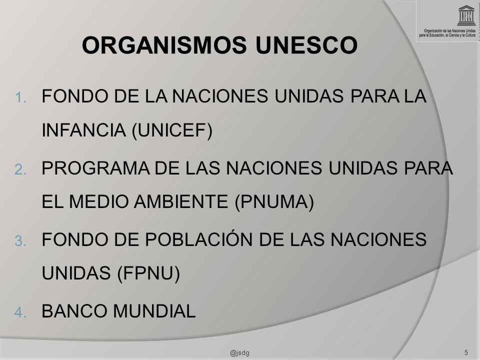 ORGANISMOS UNESCO 1. FONDO DE LA NACIONES UNIDAS PARA LA INFANCIA (UNICEF) 2. PROGRAMA DE LAS NACIONES UNIDAS PARA EL MEDIO AMBIENTE (PNUMA) 3. FONDO