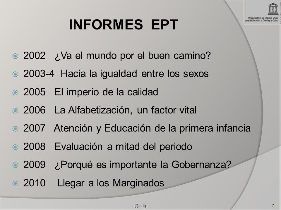 INFORMES EPT 2002 ¿Va el mundo por el buen camino? 2003-4 Hacia la igualdad entre los sexos 2005 El imperio de la calidad 2006 La Alfabetización, un f