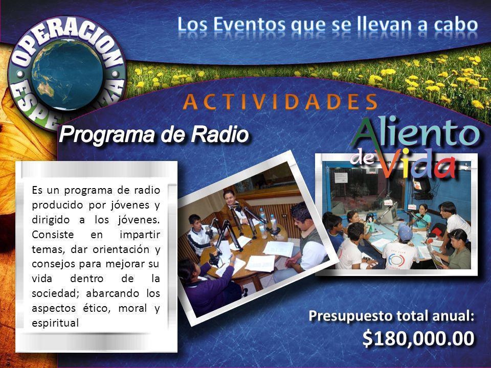 Presupuesto total anual: $180,000.00 Presupuesto total anual: $180,000.00 Es un programa de radio producido por jóvenes y dirigido a los jóvenes. Cons