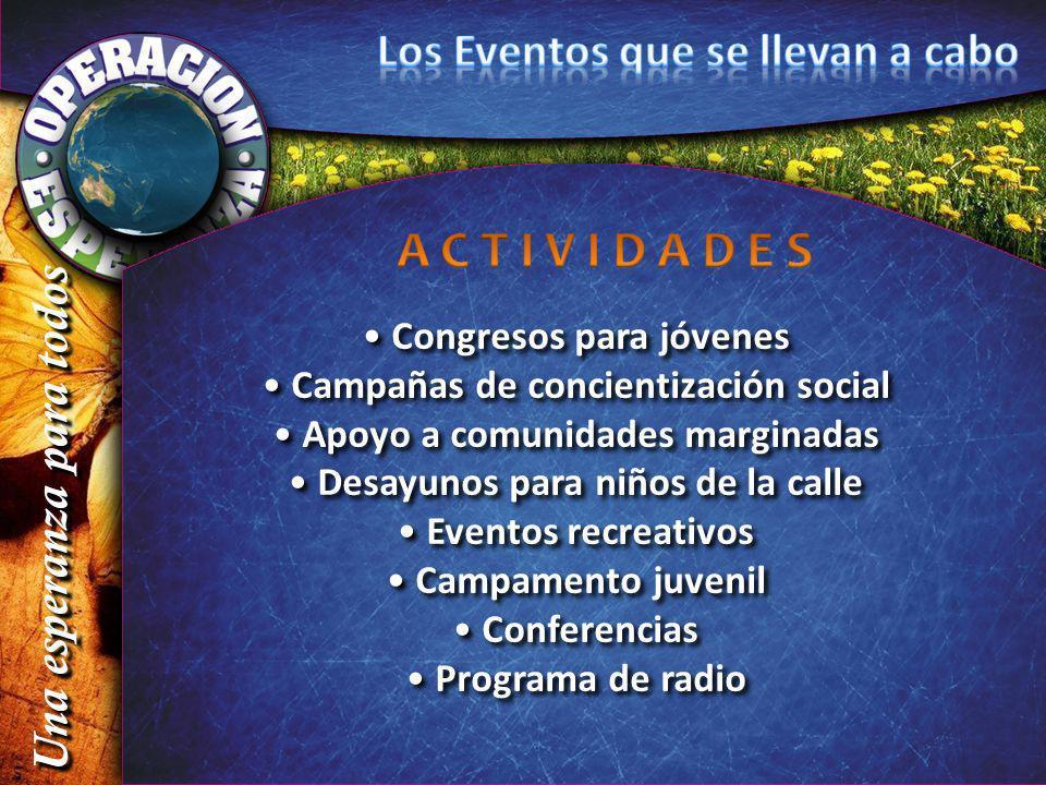 Congresos para jóvenes Campañas de concientización social Apoyo a comunidades marginadas Desayunos para niños de la calle Eventos recreativos Campamen