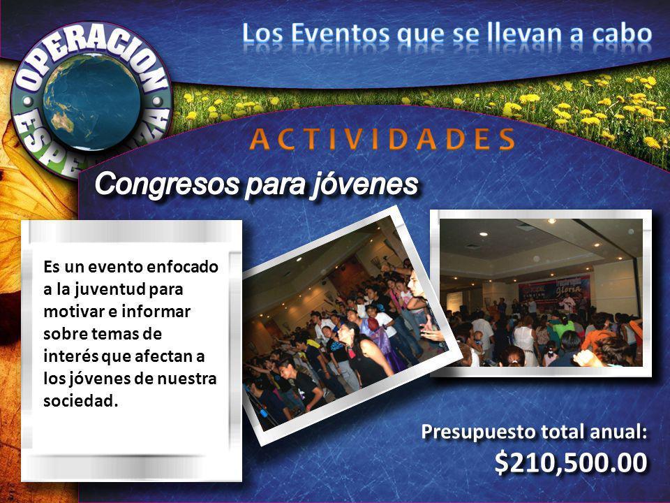 Presupuesto total anual: $210,500.00 Presupuesto total anual: $210,500.00 Es un evento enfocado a la juventud para motivar e informar sobre temas de i