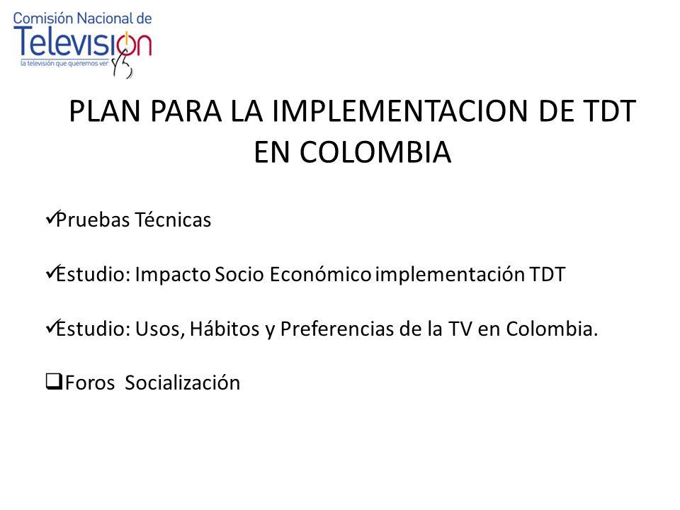 Pruebas Televisión Digital Terrestre ATSC, DVB-T, ISDB-T Recomendación UIT BT-2035 1.Pruebas de Desempeño Técnico Ciudad de Bogotá.