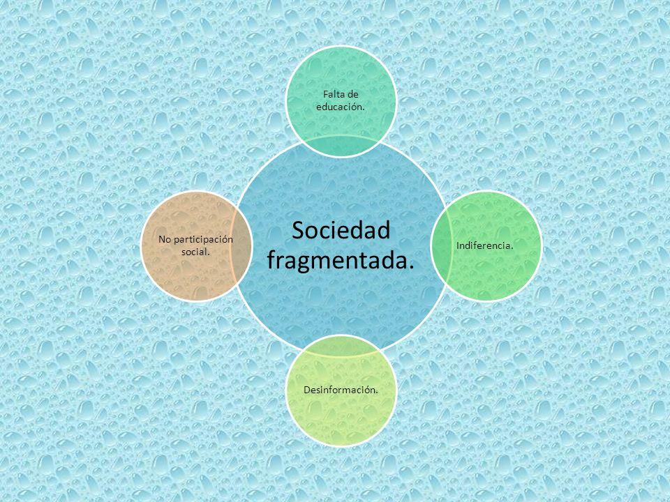 Sociedad fragmentada. Falta de educación. Indiferencia.Desinformación. No participación social.