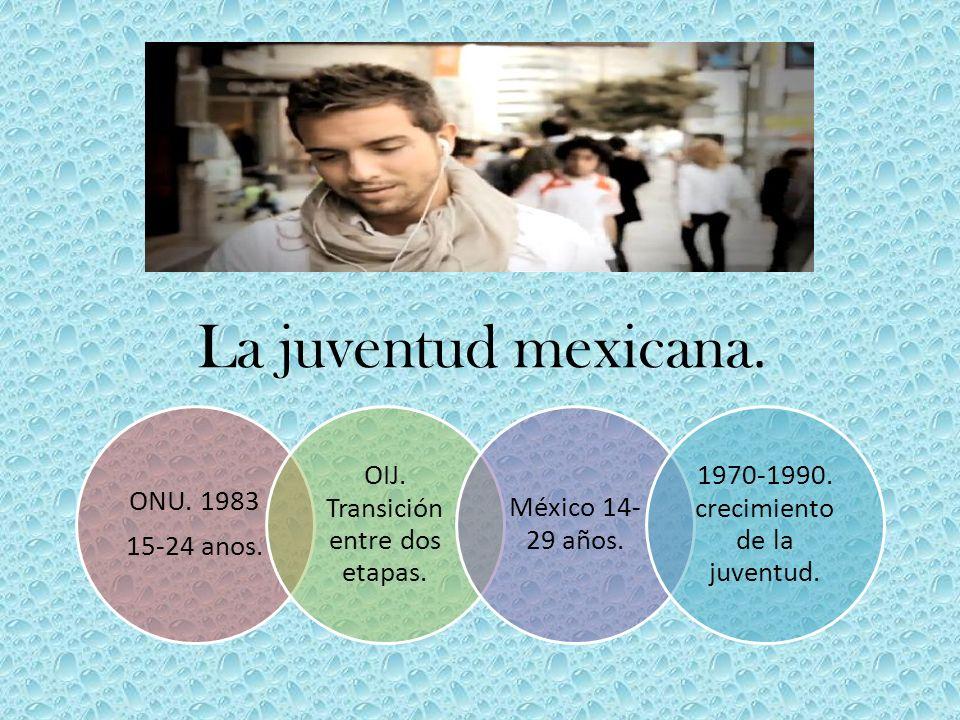 La juventud mexicana. ONU. 1983 15-24 anos. OIJ. Transición entre dos etapas. México 14- 29 años. 1970-1990. crecimiento de la juventud.