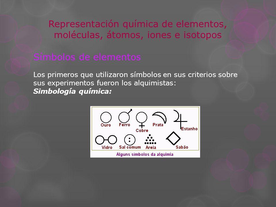 Representación química de elementos, moléculas, átomos, iones e isotopos Símbolos de elementos Los primeros que utilizaron símbolos en sus criterios s