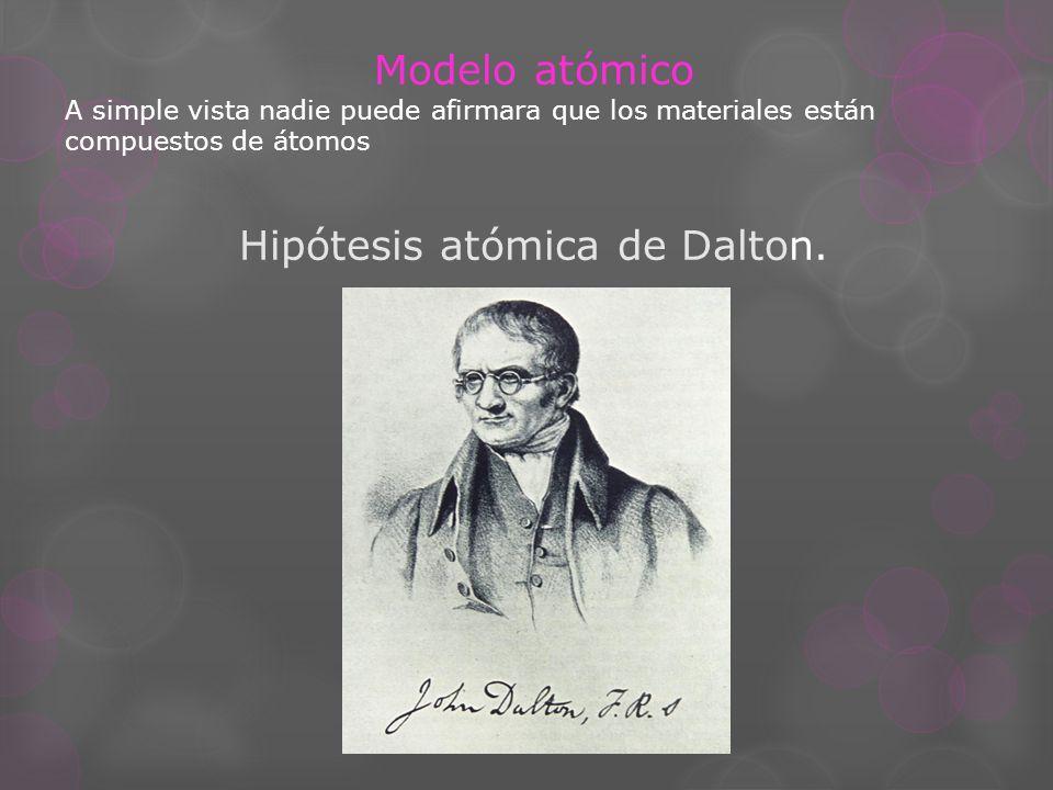 Modelo atómico A simple vista nadie puede afirmara que los materiales están compuestos de átomos Hipótesis atómica de Dalton.
