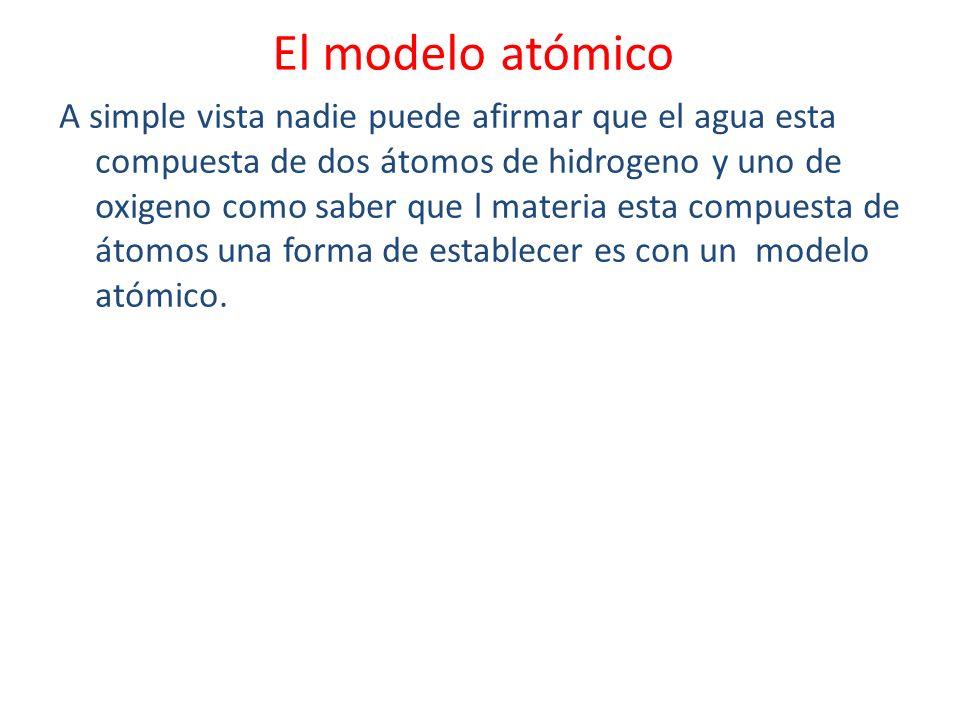 El modelo atómico A simple vista nadie puede afirmar que el agua esta compuesta de dos átomos de hidrogeno y uno de oxigeno como saber que l materia e