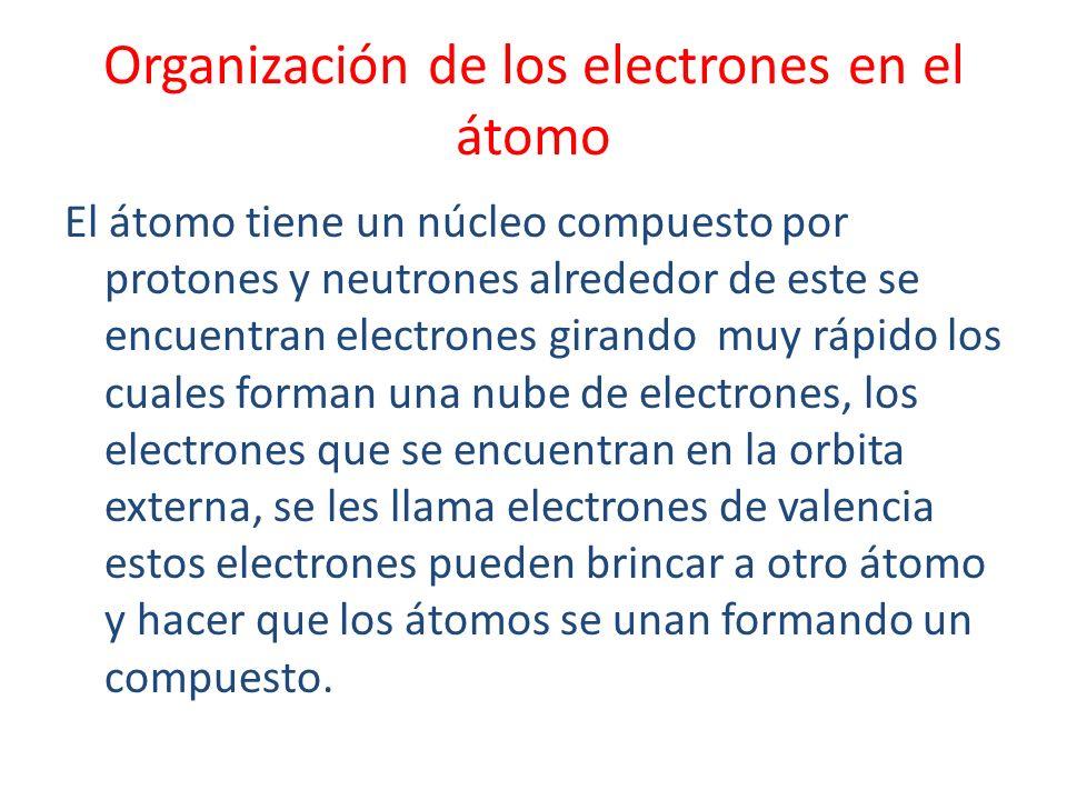 Organización de los electrones en el átomo El átomo tiene un núcleo compuesto por protones y neutrones alrededor de este se encuentran electrones gira
