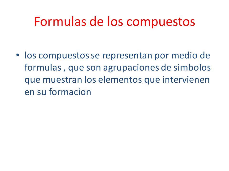 Formulas de los compuestos los compuestos se representan por medio de formulas, que son agrupaciones de simbolos que muestran los elementos que interv