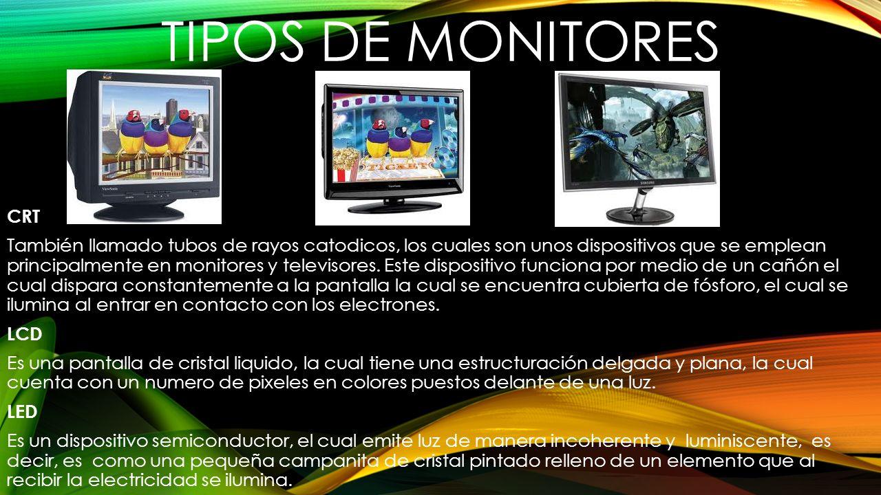 TIPOS DE MONITORES CRT También llamado tubos de rayos catodicos, los cuales son unos dispositivos que se emplean principalmente en monitores y televis