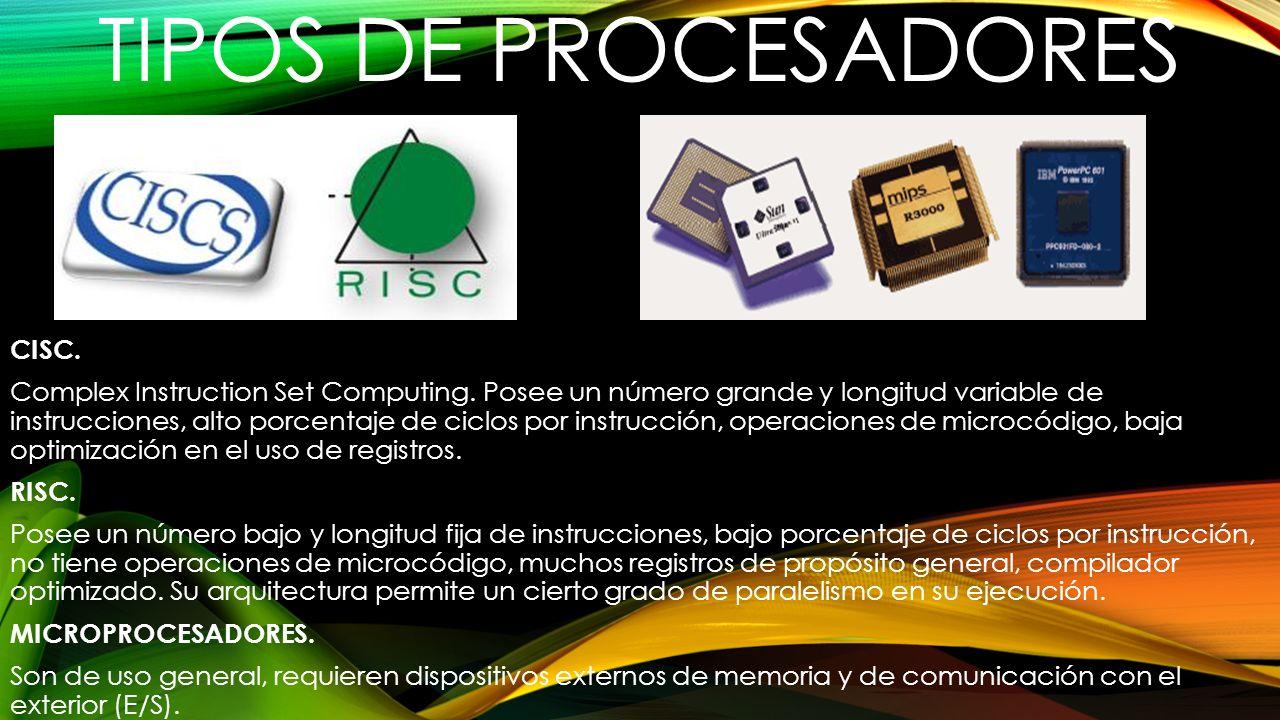 TIPOS DE PROCESADORES CISC. Complex Instruction Set Computing. Posee un número grande y longitud variable de instrucciones, alto porcentaje de ciclos