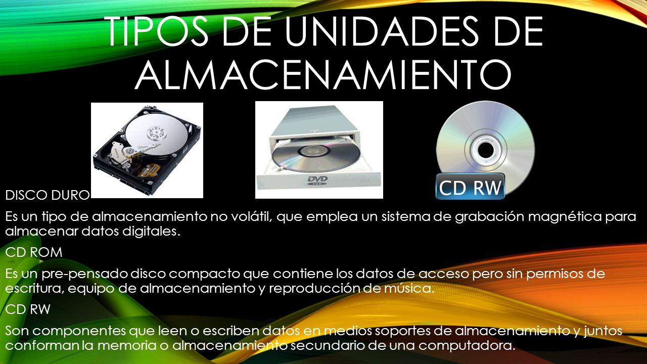 TIPOS DE UNIDADES DE ALMACENAMIENTO DISCO DURO Es un tipo de almacenamiento no volátil, que emplea un sistema de grabación magnética para almacenar da
