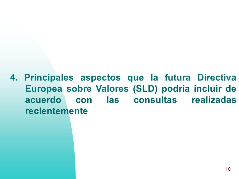 10 4. Principales aspectos que la futura Directiva Europea sobre Valores (SLD) podría incluir de acuerdo con las consultas realizadas recientemente
