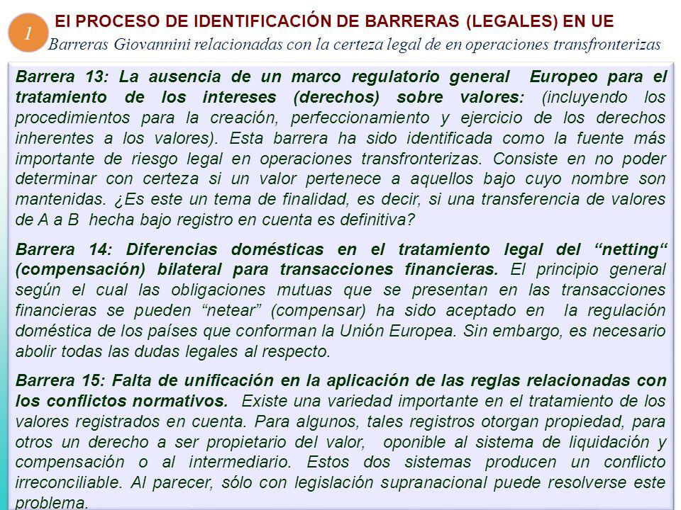 Barrera 13: La ausencia de un marco regulatorio general Europeo para el tratamiento de los intereses (derechos) sobre valores: (incluyendo los procedimientos para la creación, perfeccionamiento y ejercicio de los derechos inherentes a los valores).