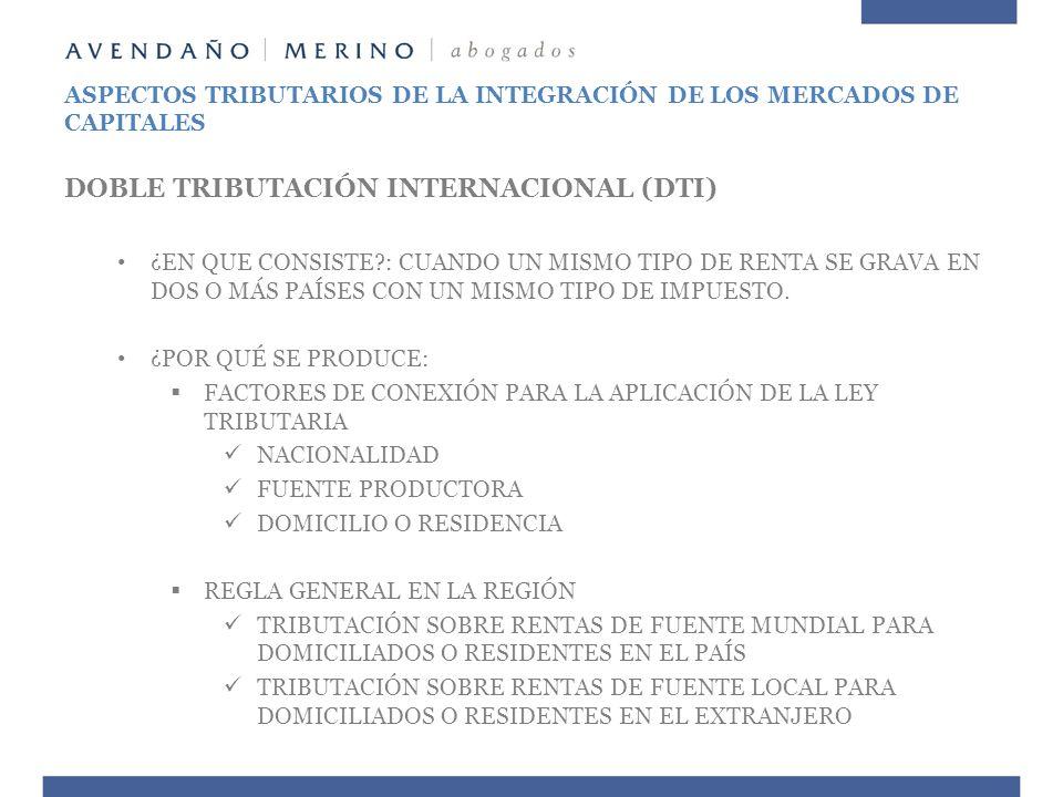 ASPECTOS TRIBUTARIOS DE LA INTEGRACIÓN DE LOS MERCADOS DE CAPITALES DOBLE TRIBUTACIÓN INTERNACIONAL (DTI) MEDIDAS PARA MITIGAR DTI: BILATERALES: TRATADOS EXONERACIÓN TAX CREDIT TASAS MÁXIMAS UNILATERALES EXONERACIÓN TAX CREDIT TAX DEDUCTION