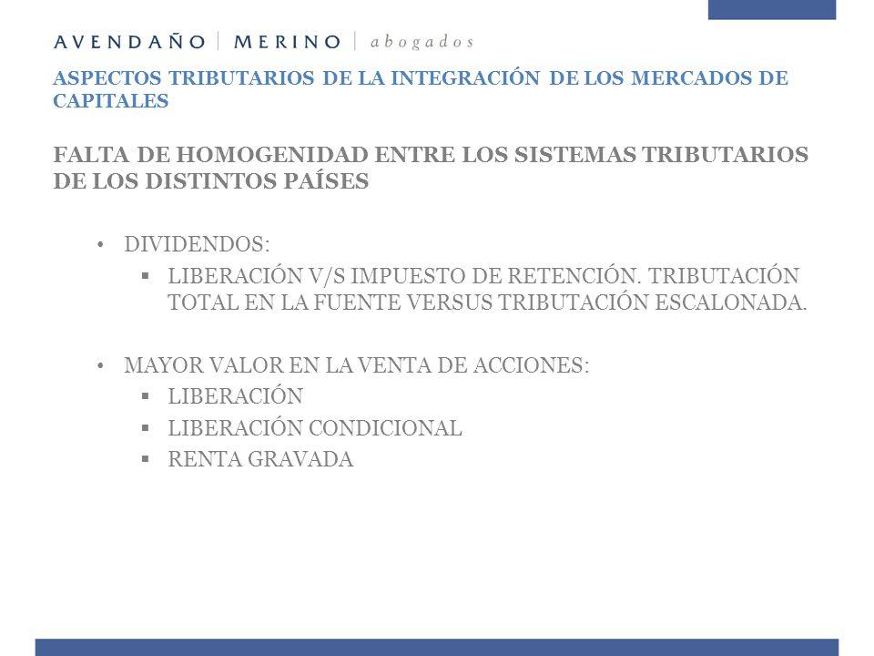 ASPECTOS TRIBUTARIOS DE LA INTEGRACIÓN DE LOS MERCADOS DE CAPITALES FALTA DE HOMOGENIDAD ENTRE LOS SISTEMAS TRIBUTARIOS DE LOS DISTINTOS PAÍSES DIVIDE