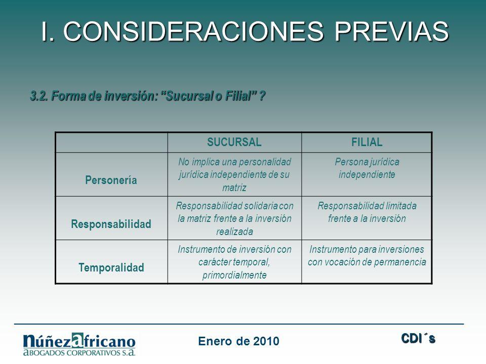 3.2.Forma de inversión: Sucursal o Filial .