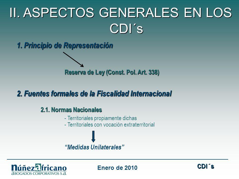 1. Principio de Representación Reserva de Ley (Const. Pol. Art. 338) 2. Fuentes formales de la Fiscalidad Internacional 2.1. Normas Nacionales - Terri